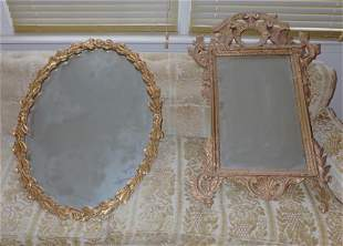 2 Gold Gilt Mirrors and Sofa