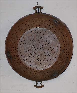 Hammered Copper Footed Strainer