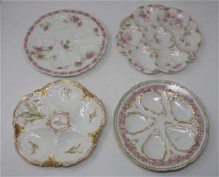 4 Limoges Oyster Plates