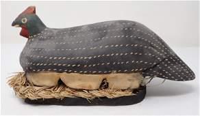 Wood Carved Guinea Hen on Nest