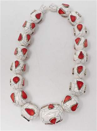 Chunky Coral and White Plastic Beaded Necklace