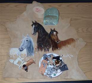 Horse Painting on Leather misc Knick Knacks