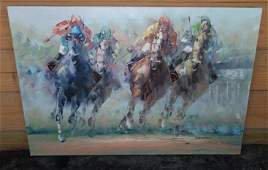 Signed Horse Racing Oil on Canvas Painting