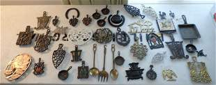Cast Iron Brass Trivets and Misc