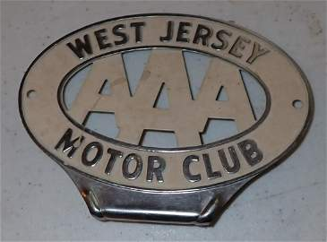 AAA West Jersey Motor Club Bumper Tag