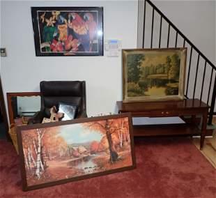 Prints Mirror Table Desk Chair