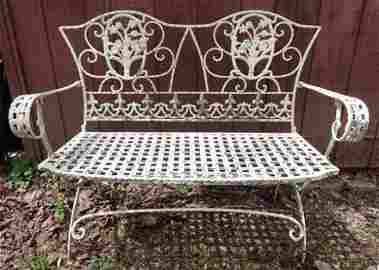 Iron Bench with Web Seat