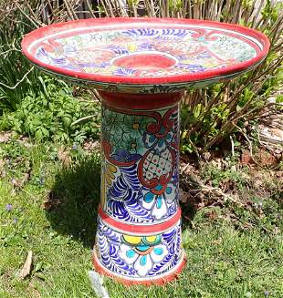 Decorated Mexican Terracotta Bird Bath