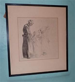 Charcoal Drawing of Old Women