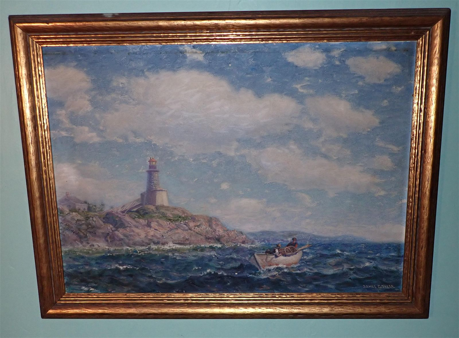 James Gale Tyler Light House Oil on Canvas Painting