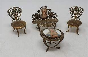 Limoges Brass Dollhouse Furniture
