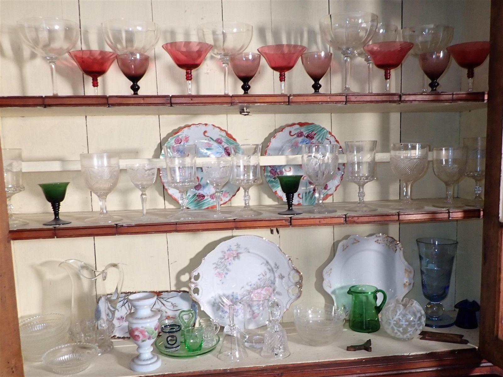 Glassware Crystal Porcelain Cupboard Contents