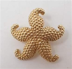 14k Gold Starfish Brooch signed JIL ?