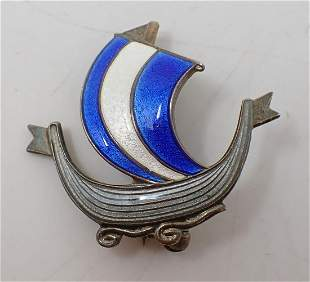 Norway Sterling Silver Ship Enameled Pin