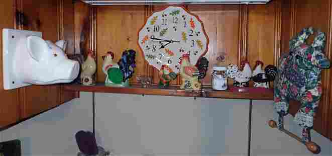 Chickens Porcelain Pig Wall Clock