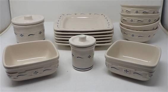 14pcs Longaberger Pottery Dinnerware
