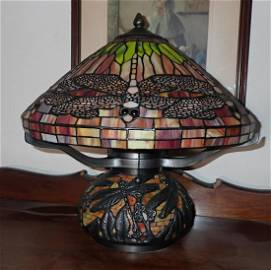 Stained Glass Dragonfly Lamp