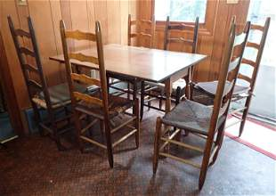 Drop Leaf Maple Table & 6 Ladderback Chairs