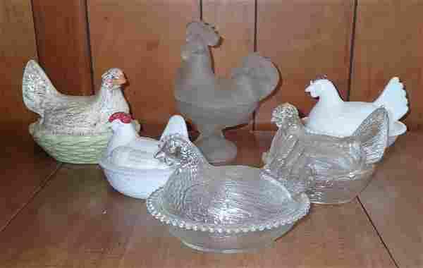 6 Hens on Nest