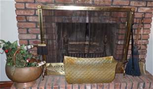 Andirons Copper Coal Scuttle Screen Fireplace Tools