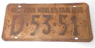 1939 New York Worlds Fair License Plate