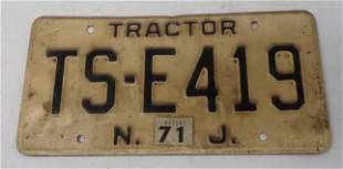 Vintage NJ Tractor License Plate