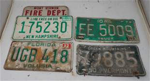Vintage License Plates Vermont Florida Iowa