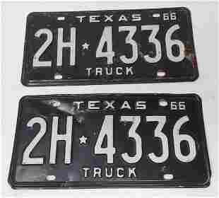 1966 Texas Truck License Plates