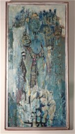 Armstrong Tribal Style Abtract Painting on Board