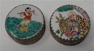 2 Chinese Compacts with Enameled Lids