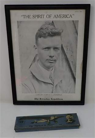 Lindbergh Framed Magazine Cover & Tin