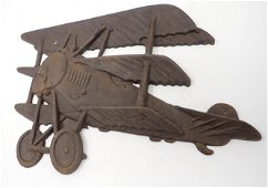 Cast Iron Airplane Wall Plaque