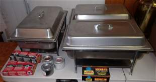3 Stainless Steel Chafing Dishes & Sternos
