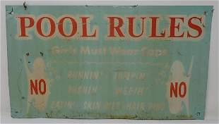 Tin Pool Rules Sign