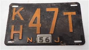 1956 NJ License Plate