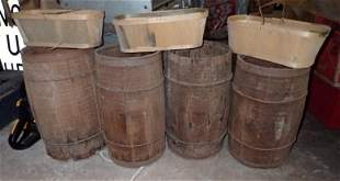4 Wooden Nail Kegs and Baskets