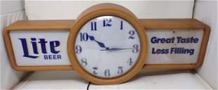 Miller Lite Lighted Beer Clock / Sign