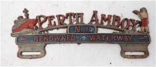 Perth Amboy NJ Renowned Waterway License Plate Topper