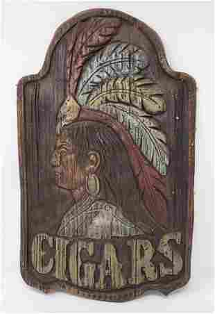 Chalkware Indian Cigars Plaque