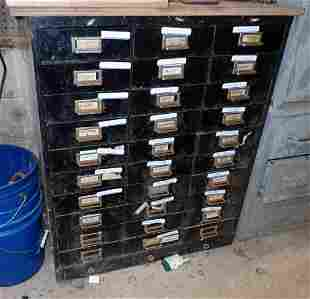 30 Drawer Parts Cabinet w/ Contents