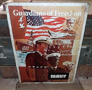 1974 Navy Double Sided Tin Sign