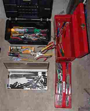 3 Tool Boxes w/ Misc Tools