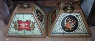2 Miller Beer Pool Table Lamps