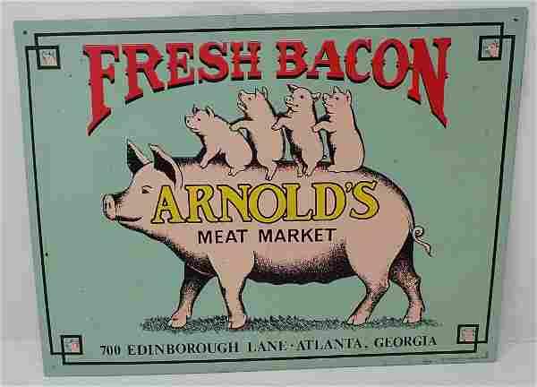 Arnolds Meat Market Pig Bacon Sign