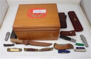 Cigar Box w/ Knives & Misc
