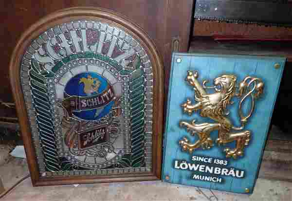 Lowenbrau & Schlitz Lighted Beer Signs