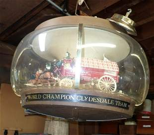 Rotating Budweiser Clydesdale Horses Beer Sign
