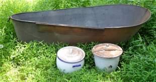 Primitive Tin Bathtub and Agateware