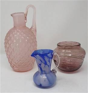 Art Glass Pitchers & Vase