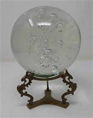 Large Signed Art Glass Paperweight